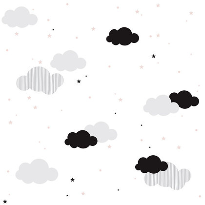 Clouds And Pink Stars Wallpaper