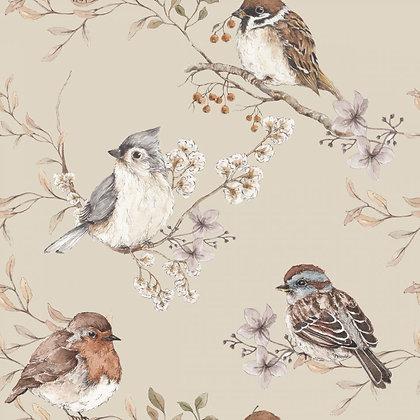 Birds Beige Wallpaper