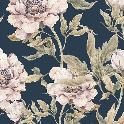 Peonies Navy Blue Wallpaper