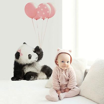 Panda Pink Balloons Wallsticker
