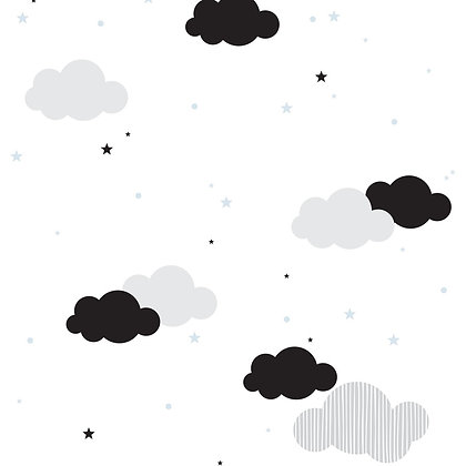 Clouds And Blue Stars Wallpaper