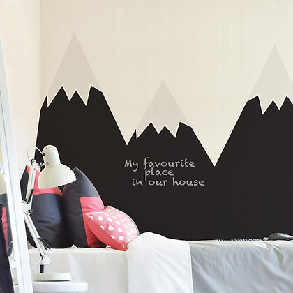 Mountains Black Chalkboard Behind-The-Bed Wallsticker