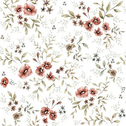 French Folk White Wallpaper