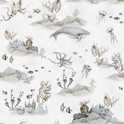 Underwater World White Wallpaper