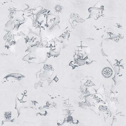 Map Stories From The Sea Blue Wallpaper
