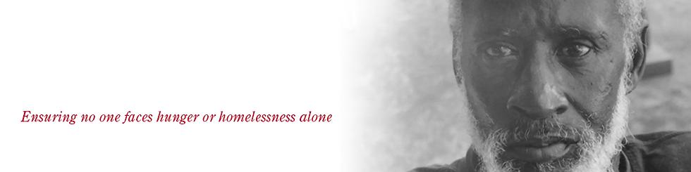 header, ensuring no one faces hunger or homelessness alone, image of homeless man looking at camera