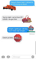 A A screenshot of text messages using STL Style stickers. Stickers include an orange St. Louis City Refuse truck, the Resist STL logo, the Amoco gas station sign, and a red stop sign shape with ROLL on it