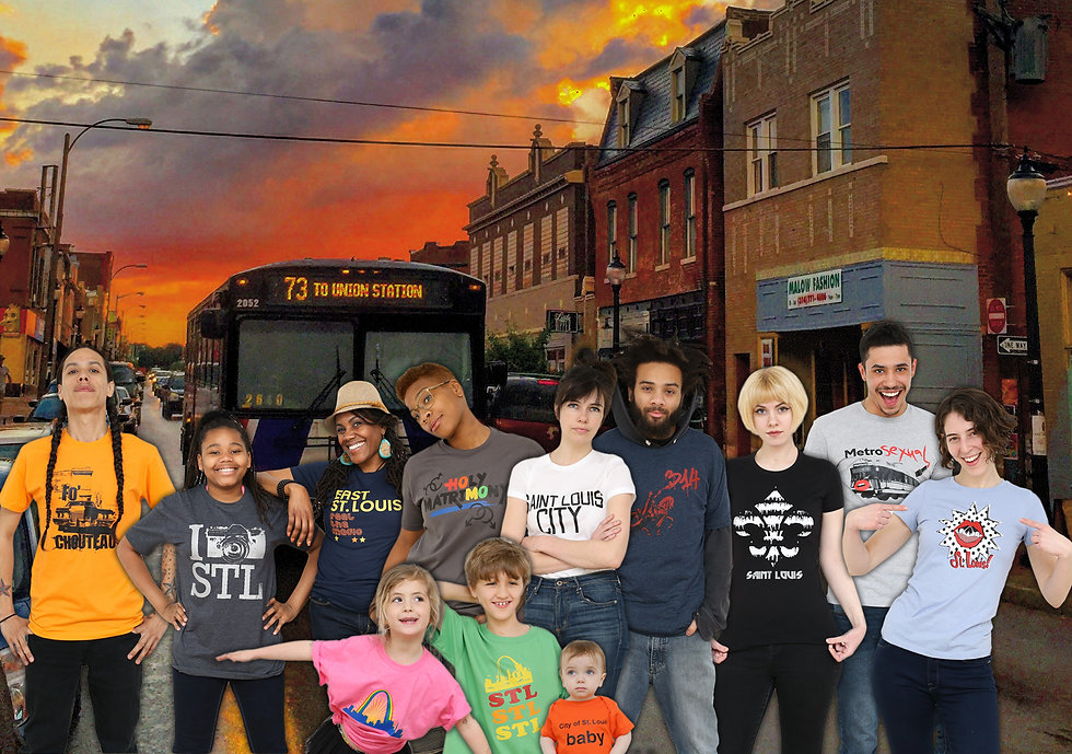 A group of people wearing S.T.L. Style tee shirts. In the background is Cherokee Street and a number 73 bus to Union Station