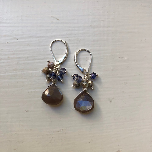 Moonstone Petite Cluster Earrings