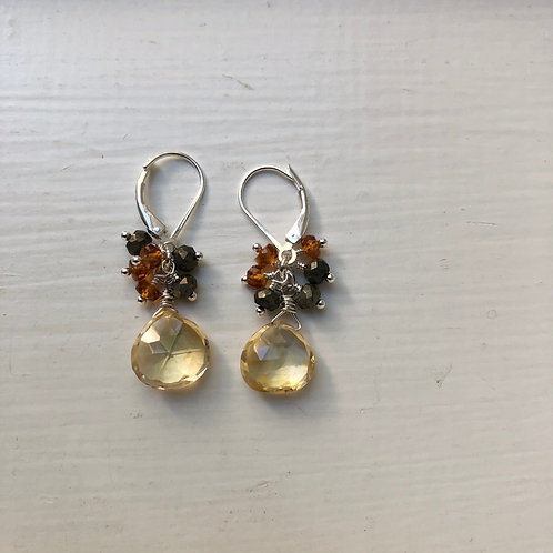 Citrine Petite Cluster Earrings