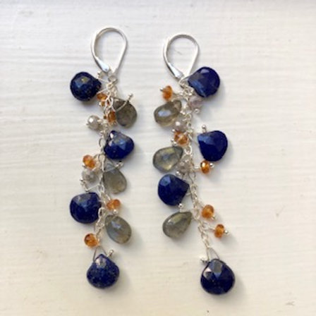 Lapis Lazuli & Labradorite Long Cluster Earrings