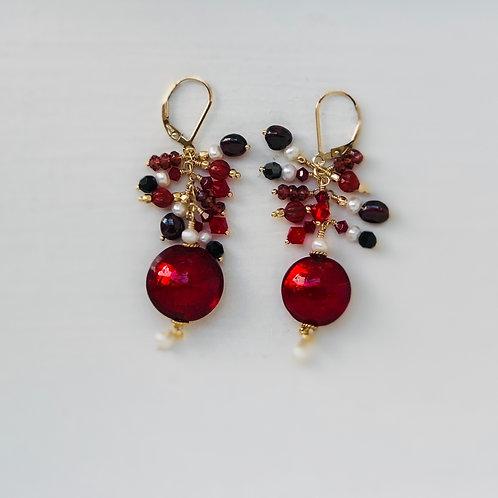 Venetian Royal Red Statement Earrings