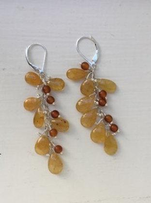 Honey Kyanite and Horn Cluster Earrings