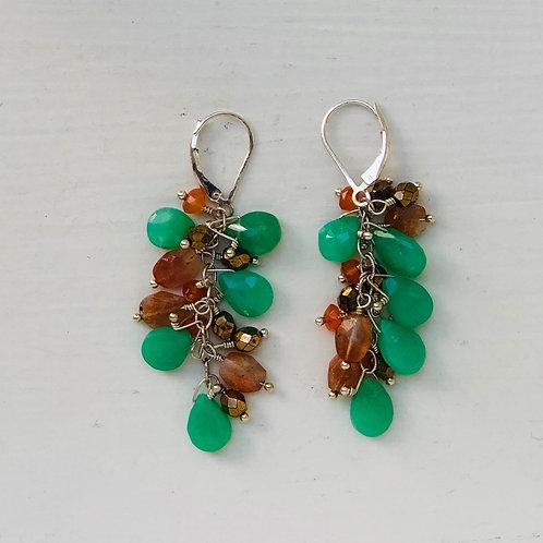 Chrysoprase & Peach Moonstone Cluster Earrings