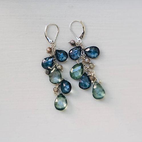 Teal & Green Quartz Cluster Earrings