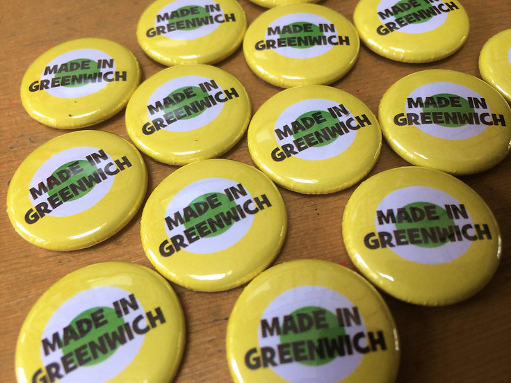 'Made In Greenwich' pin badges