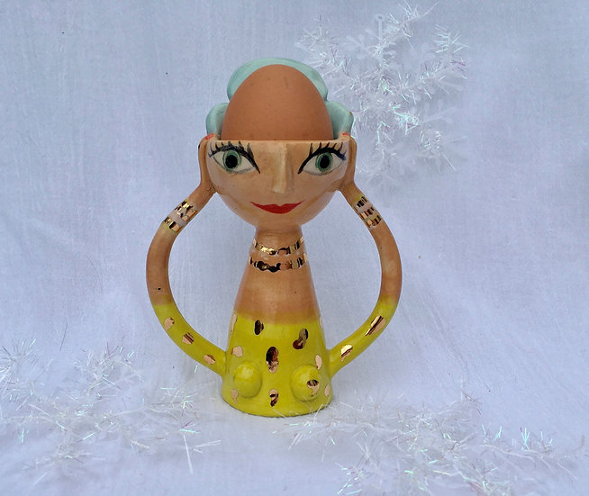 Madeline Herbert - Egg cup with blue hair and gold detailing