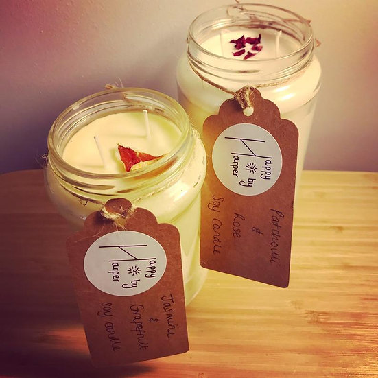Soy candle in Patchouli & Rose - Happy by Harper