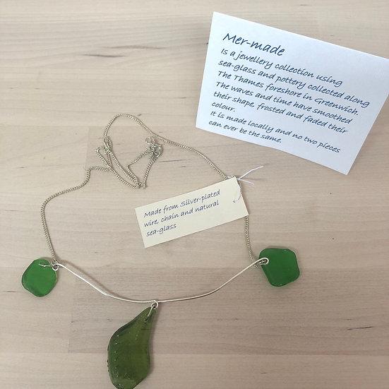 Dark green mudlarked necklace