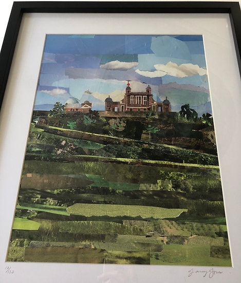 Framed print of original Jane Jones Greenwich Park Collage