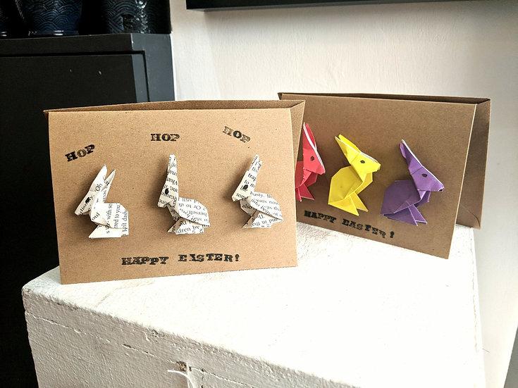 Happy Easter card - origami folded 3 bunnies