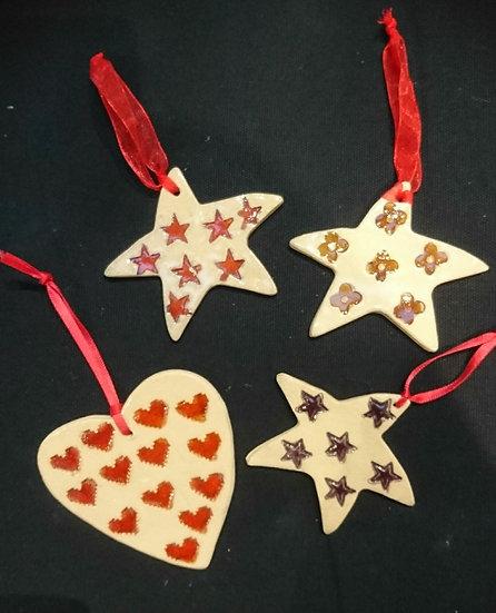 Festive Stamped Ceramic Decorations - Hajrah Ayub