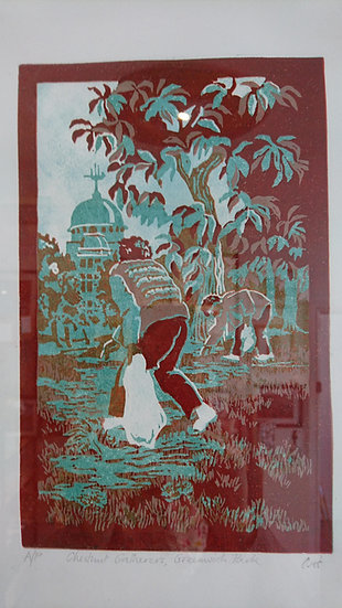 Chestnut Gatherers, Greenwich Park. Artists Proof, Framed - Ann Hillary