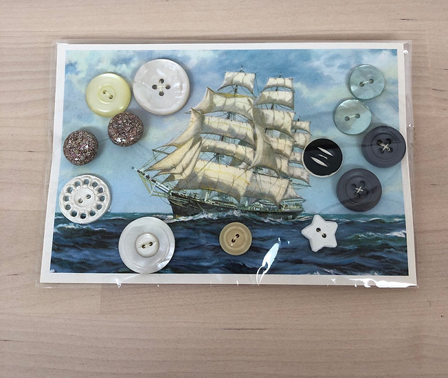 Vintage Cutty Sark postcard with vintage buttons