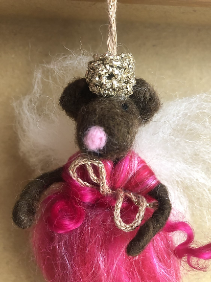 Felted Animal Fairy Dark Pink (knitted crown)