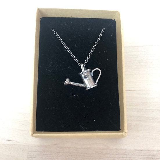 Oxidised sterling silver watering can necklace