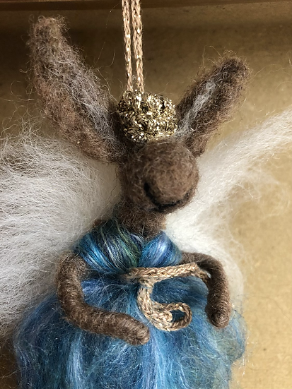 Felted Animal Fairy Blue (knitted crown)