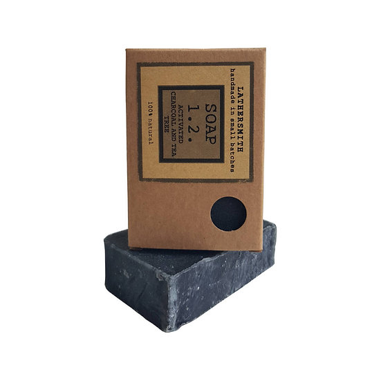 LatherSmith handmade soap 1.2 in Activated charcoal & Teatree