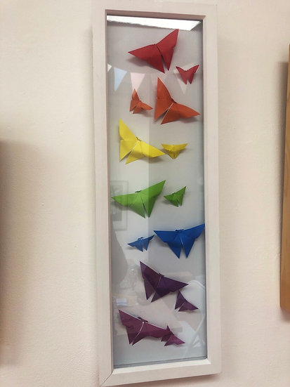 Paper art origami butterfly rainbow picture by Ollie