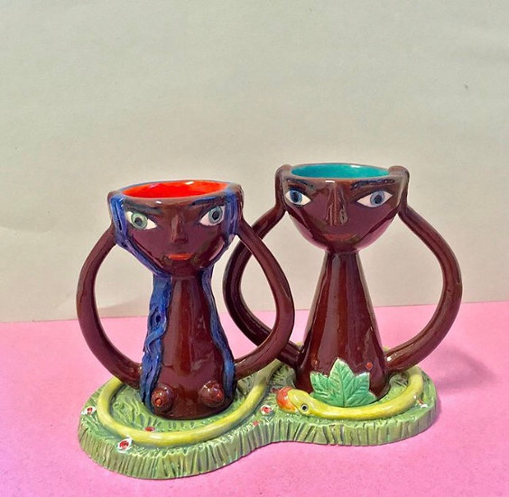Adam and Eve eggcup pair