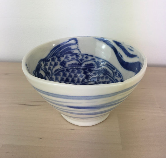 Porcelain fish bowl by Jonquil Cook