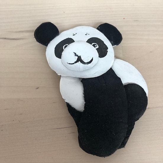 Panda leather brooch
