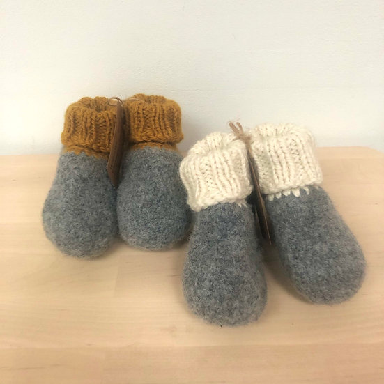 Bless This Mess hand felted booties in cream or mustard