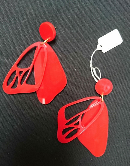 Carly Dove - Red Butterfly Wing Earrings