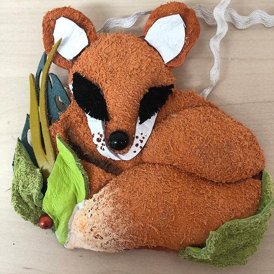 Foxy leather offcut brooch