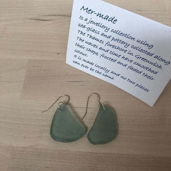 Pale green seaglass earrings