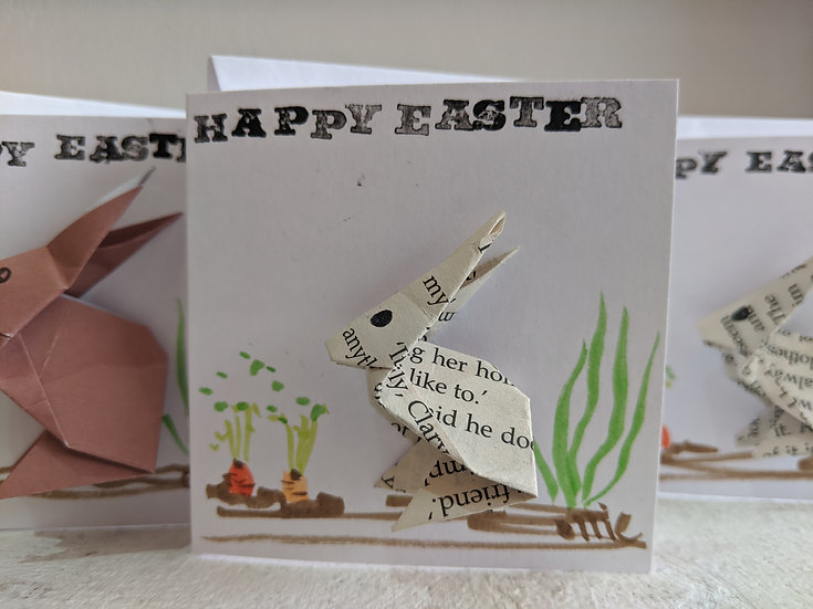 Happy Easter Card, Origami bunny