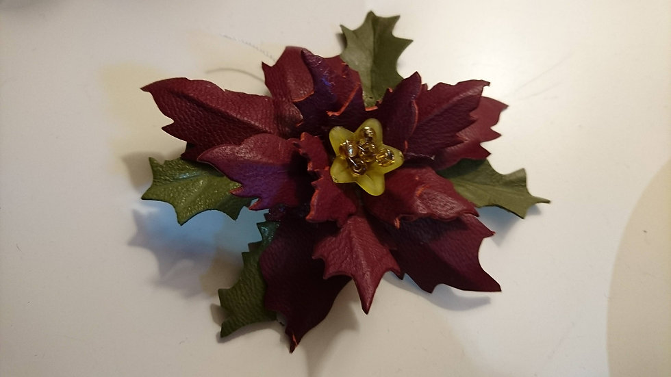 Poinsettia Leather Brooch