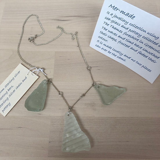 Pale green glass mudlarked necklace