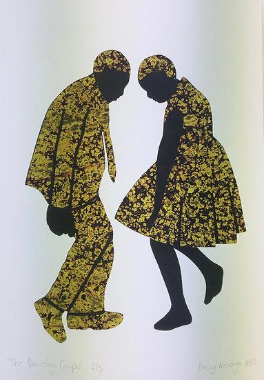 'Dancing couple', original print by Biringi Kawooya