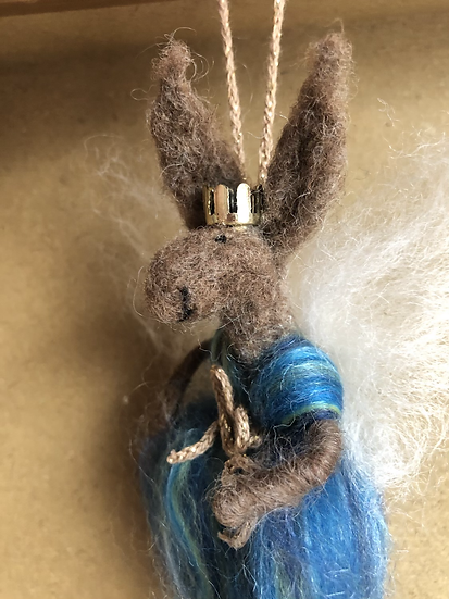 Felted Animal Fairy Blue (bauble crown)