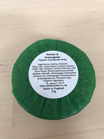 Saboo Alee organic handmade soap in Vetiveer & Lemongrass
