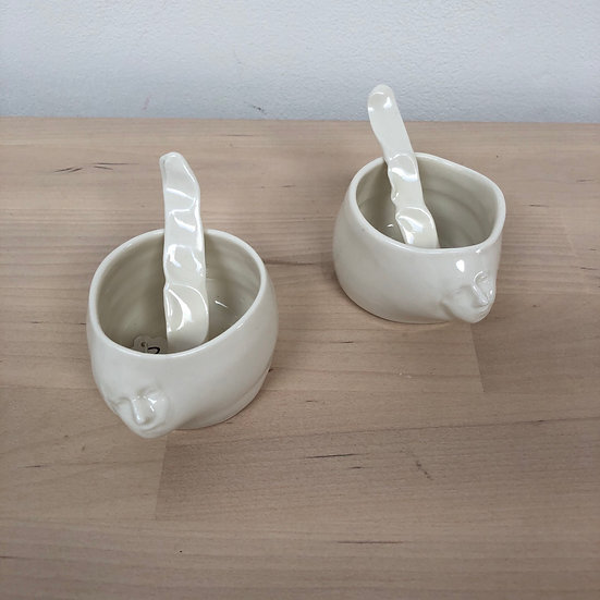 Mini porcelain head pots with spoon by Anna Lubach - each...