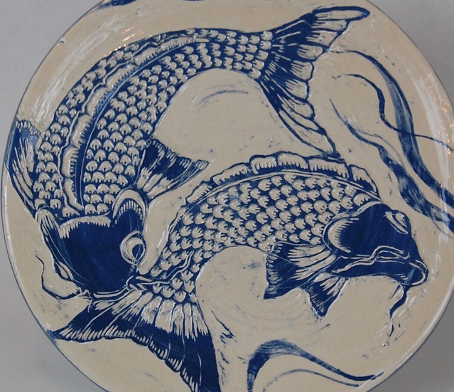 Earthenware 'fish' platter by Jonquil Cook