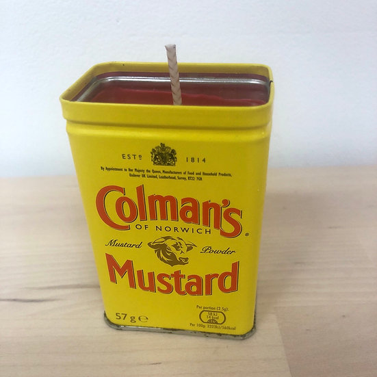 Colman's Mustard up cycled scented candle by Lady Stella