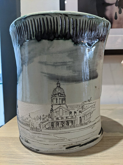 Royal Collage Large Vase Greenwich - By Fiona Veacock Ceramics